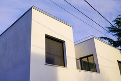 Exterior of newly made modern architecture residential building modern apartment