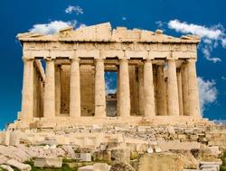 Exterior of Parthenon temple in Acropolis, Athens, Greece.