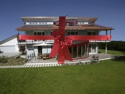 Exterior of residential house with ribbon around it