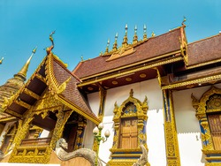 Exterior of the beautiful Buddhist temple namely Wat Hua Kwuang in Chiengmai, Thailand