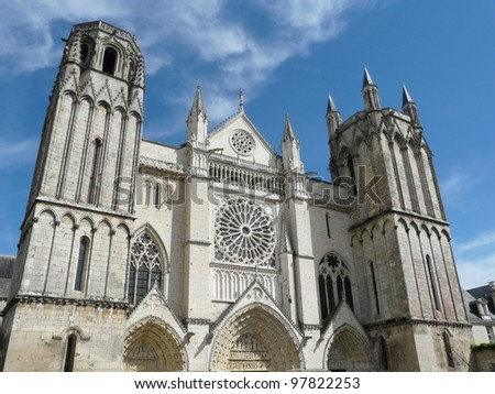 Exterior of the church of St Pierre in Poitiers, France