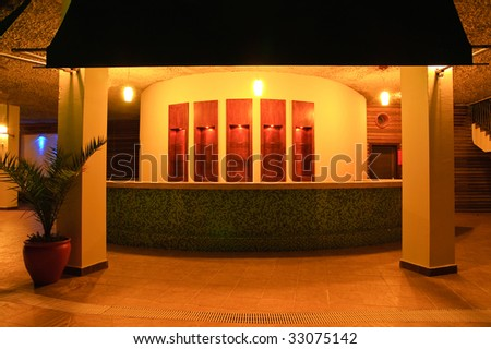 Exterior of the little bar at night time