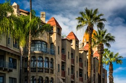 Exterior of the Mission Inn, in Riverside, California.