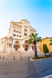 Exterior of the Monaco Cathedral in Monaco-Ville. Beautiful bright church in the last rays of the sun. Cathedrale de Monaco.