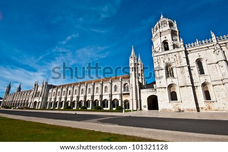 exterior of the Mosteiro dos Jeronimos in Belem, Lisbon