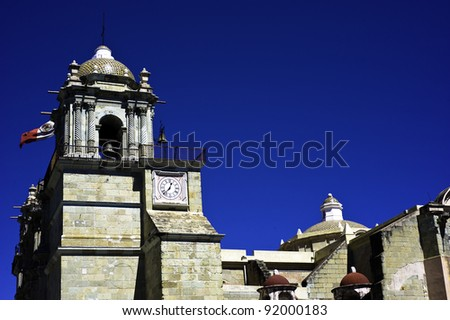 Exterior of the Soccolo cathedral in Oaxaca Mexico