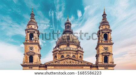 Exterior of the St. Stephen's Basilica, a Roman Catholic Cathedral in the old town of Budapest, Hungary, Europe, named in honour of Stephen, the first King of Hungary.
