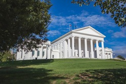 Exterior of the Virginia State Capitol building in Richmond, Virginia, designed by Thomas Jefferson