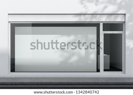 Exterior of white office or shop with glass door and big horizontal mock up poster hanging in the window. Concept of advertising. 3d rendering
