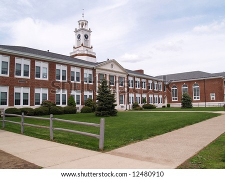 exterior view of an old brick high school in Phillipsburg, New Jersey