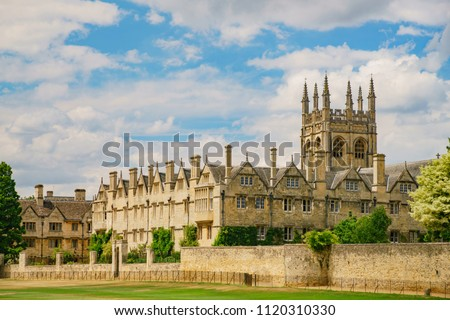 Exterior view of the famous Christ Church Cathedral at Oxford, United Kingdom
