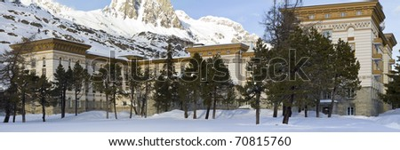 "Exterior view of the historic building  ""maloja palace"" in ""st.moritz maloja"""