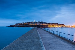 Exterior view of the Saint-Malo city stronghold a walled port city in Brittany in northwestern France on the English Channel