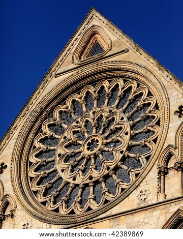 Exterior view of the stained glass rose window at york for Rose window york minster