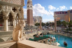 Exterior view of the Venetian Hotel in Las Vegas. A recreation of the Piazza San Marco. Taken May 26th, 2019 in Las Vegas, Nevada.