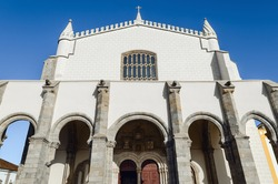 Exterior view of thea(Church of Saint Francis) in Evora, Alentejo (Portugal). The site is famous for its interior Capela dos Ossos, a chapel covered by human bones