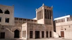Exterior view to Sheikh Isa Bin Ali Al Khalifa house and mosque in Manama, Bahrain