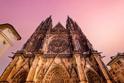 Exteriors of saint Vitus cathedral, Prague castle, czech republik, september 11, 2019 in Prague, czech republic