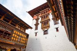 Exteriors of Tashichho Dzong or Thimphu Dzong in Thimphu, Bhutan