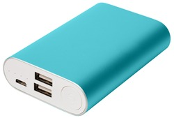 External battery for mobile devices with the case of blue color