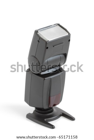 external camera flash on a white background - stock photo