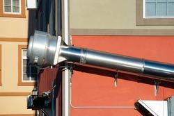 external chimney pipe metal steel real fan air