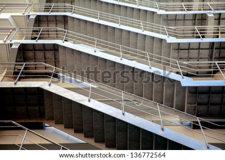 external fire escapes in a modern building from Japan.