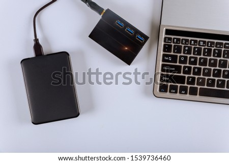 External hard disk and keyboard laptop computer transfer photos #1539736460