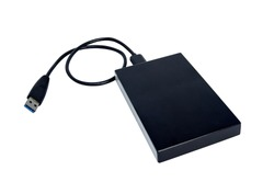 external hard disk drive for persanal computer, transfer or backup data between computer and HDD. Black hard disc for backup files and important information using USB 3.0 connection