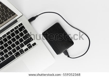 External hard drive connect to laptop computer #559352368