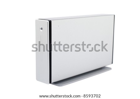 External hard drive isolated on white background. Shallow DOF