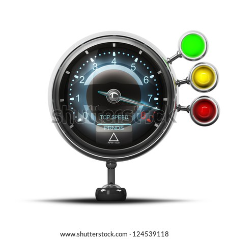External tachometer isolated on white background. High resolution 3d render