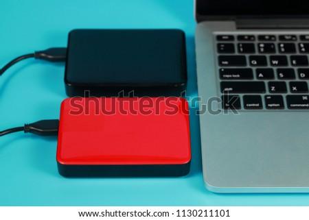 external usb disk with computer laptop