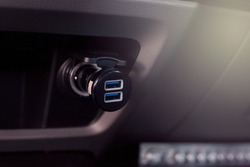 External USB port with cigarette lighter in car,Warm tone style