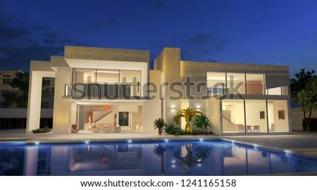 External view of a contemporary house with pool at dusk 3D rendering