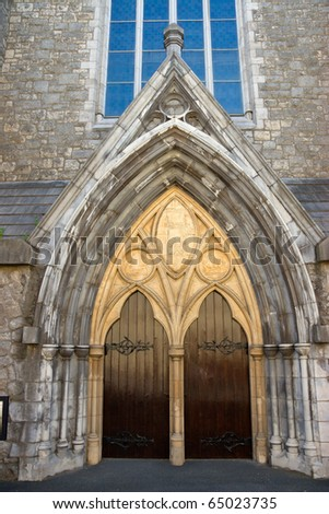 External view of an ancient cathedral, Dublin, Ireland