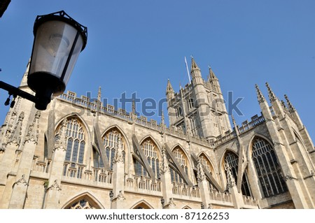 External view of Bath Abbey in England