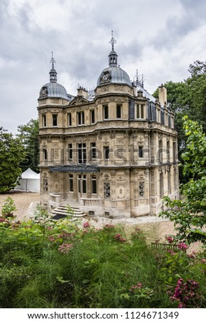 External view of Chateau de Monte-Cristo (1846) - beautiful XIX century building in Port-Marly (20 km from Paris). France. #1124671349
