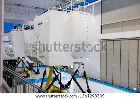 external view of full motion flight simulator