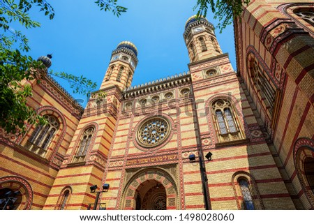 Photo of  External view of the historical Budapest Great Synagogue in Dohany Street, Hungary