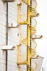 External yellow fire escape staircase
