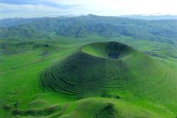 Extinct volcano Vayots Sar in Armenia.  According to historical data - he extinguished out in the 7th century.  The summit of the volcano is 2650m.