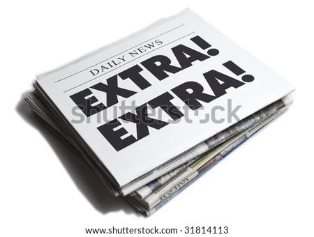Extra Extra newspaper isolated on white background - stock photo