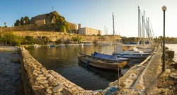 Extra Large Panorama of Corfu Old Fortress and Corfu Sailing Club - Corfu, Greece Unesco World Heritage site