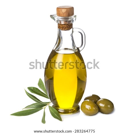 Extra olive oil bottle and green olives with leaves isolated on a white background Stock photo ©