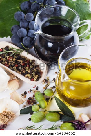 Extra virgin olive oil and balsamic vinegar with mediterranean spices