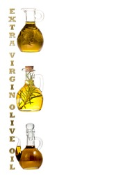 Extra virgin olive oil bottle and jars isolate. Group of bottle and text