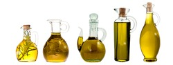Extra virgin olive oil bottle and jars isolated. Group of bottle and jars with extra selection olive oil varieties isolated on white background