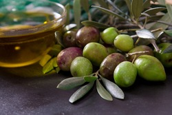 extra virgin olive oil with natural olives