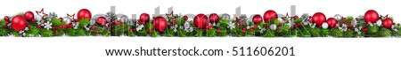 Extra wide Christmas border with fir branches, red and silver baubles, pine cones and other ornaments, isolated on white #511606201